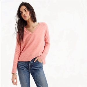 J. Crew Pink V-Neck Sweater in Supersoft Yarn